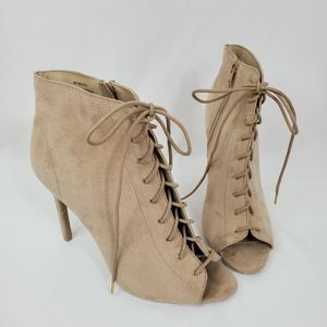 F21 Nude Open Toe Lace Up Heeled Booties